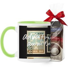 Postage Stamps Mug, Green, with Ghirardelli Premium Hot Cocoa, 11 oz, White
