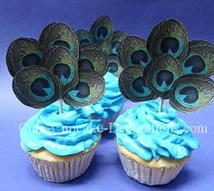 Are you planning a peacock party? Make some special peacock cupcakes for the occasion. These will make wonderful desserts for… Peacock Foods, Peacock Theme, Cute Cupcakes, Cupcake Cookies, Black Baby Girl Hairstyles, Peacock Cupcakes, 40th Birthday Parties, Birthday Ideas, Feather Design