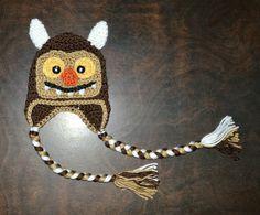 Monster Earflap Hat Beanie Handmade Crochet Baby by CubbyCreations