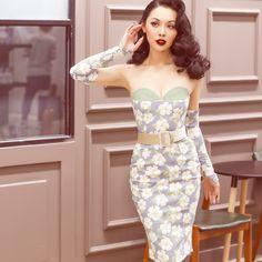 le palais vintage 2017 Summer Sleevelet Dress Elegant Floral Printed Slim High Rise Mesh Bust 50s Pin Up Vintage Strapless