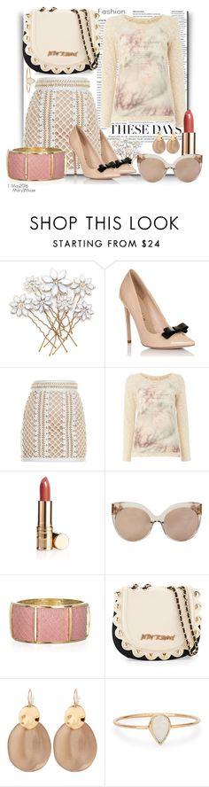 """These Days"" by octobermaze ❤ liked on Polyvore featuring Lipsy, Balmain, Salsa, Elizabeth Arden, Linda Farrow, Kara Ross, Betsey Johnson, Alexis Bittar and Catbird"