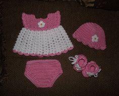 Baby Girl Crochet Diaper Dress Set