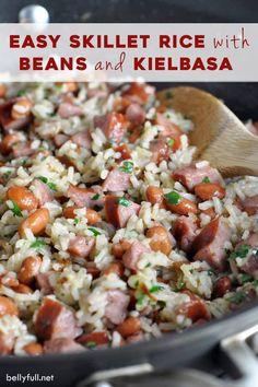 Bean Recipes, Sausage Recipes, Pork Recipes, Cooker Recipes, Kielbasa Recipes Rice, Celiac Recipes, Rice With Beans, Rice And Beans Recipe, Essen