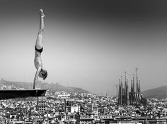 Public swimming pool Montjuic with spectacular views on the city