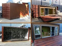 Container home. I love how the protective facing becomes the deck