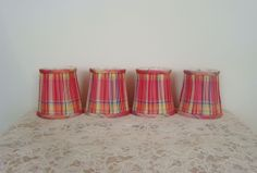 Set of 4 Vintage Chintz Fabric Clip-on Lamp Shades for Small Boudoir Lamp or Chandelier