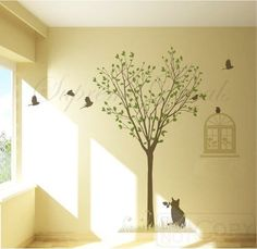 Made in US - Free Custom Color - Free Squeegee -Tree and cat-- 78inch H -- Wall Art Home Decors Murals Removable Vinyl Decals Paper Stickers $74.00