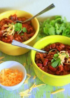 Slow Cooker Easy Three Bean Chili can be made with or without ground beef.  It can be in the slow cooker in minutes and cooks unattended for 8 hours.  [From Kitchen Treaty via Slow Cooker from Scratch]
