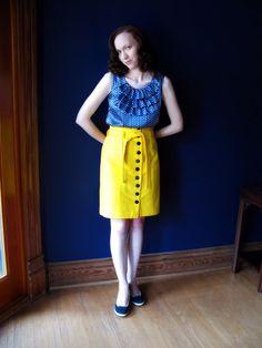 Skirt: straight, button up, high waist, waist tie