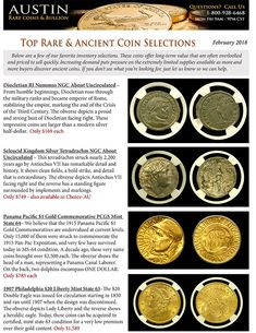 This is February 2018 Top Rare & Ancient Coin Selections. Be sure to check out our entire inventory or call to ask if there is a certain coin that you are looking for. Ancient Roman Coins, Ancient Romans, Coin Dealers, Coin Prices, Coins For Sale, Half Dollar, Rare Coins, Silver Coins, Mini Albums