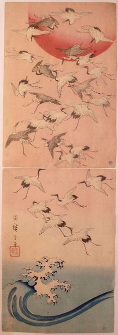 Utagawa HIROSHIGE A vertical diptych showing a multitude of cranes flying up from a cresting wave to a large red sun. In fact this diptych was used by an Edo publisher as end sheets to albums – usually sets of Hiroshige landscapes. Japanese Painting, Chinese Painting, Chinese Art, Illustrations, Illustration Art, Drawing, Art Chinois, Art Japonais, Art Graphique