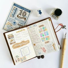 🤗 . . . . . . . . . . . . . . #mtn #tn #travelersnotebook #journaling #rubberstamps #pencilboard #gold #winsorandnewton #midoritravelersnotebook #creativejournaling #art #colors #ombre #macabella #chocolate #nutella #dessert #calligraphy #classiky #porcelain #passport #illustration #watercolor #thedailywriting