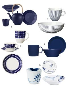 Blue trend in home decor. Blue tableware