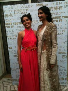 Sonam Kapoor & Freida Pinto just before walking the red carpet Cannes Film Festival 2013