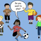 FREE CLIP ART  This is a Powerpoint file containing 5 images of children playing soccer, football, tennis and basketball.      clip art pics by Carmel...