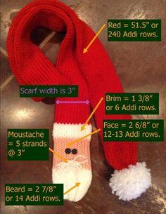 Santa Scarf - any yarn craft instructions (Addi knitting machine, hand knit, loom knit, crochet)