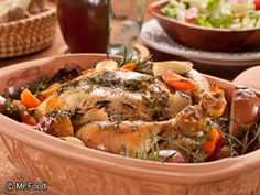 Country French Chicken takes your taste buds to the French countryside when you prepare this flavor-packed recipe for whole chicken and veggies that roast to tender perfection with white wine and fresh herbs.   Read more at http://www.mrfood.com/Chicken/Country-French-Chicken#t63qFEHyGDA2G8Re.99