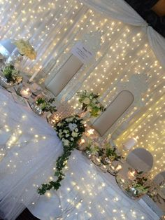 Head table with lights by Fairytales at The Ashbourne Hotel