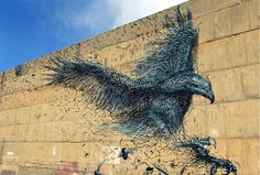 """""""His works look like 3D metal shards but are actually spray-painted, often in a hurry to avoid arrest."""""""