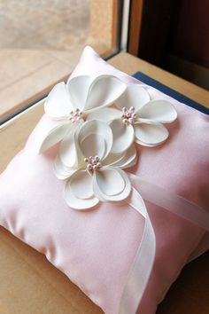 Unique and Romantic Ring Bearers Pillow for Memorable Wedding!    An Ivory satin Pillow  with romantic flowers.         All items in my shop are to...