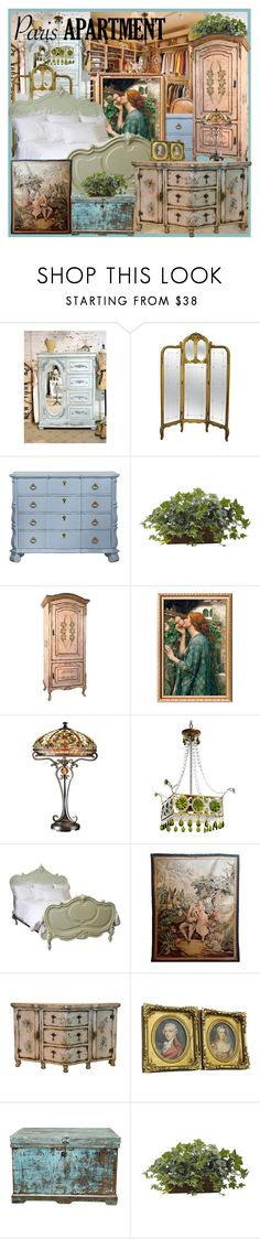 """The Perfect Paris Apartment"" by joyce-williams ❤ liked on Polyvore featuring interior, interiors, interior design, home, home decor, interior decorating, Dale Tiffany, Canopy Designs, Nearly Natural and parisapartment"