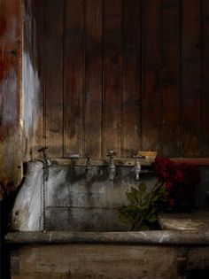 weathere wood so warm...old sink lovely!!