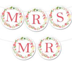 Free Printable Floral Wreath Wedding Banner from Floral Wreath Printable, Free Printable Banner, Printable Tags, Free Printables, Party Printables, Printable Templates, Free Banner, Banner Template, Custom Bottle Labels
