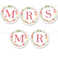 Free Printable Floral Wreath Wedding Banner from @chicfettiwed
