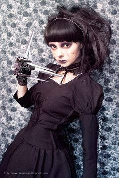 Tim Burton inspired  Female Edward Scissor hands self portrait by skwawesome on deviantart.net    I'm thinking about borrowing this idea... I like it :3