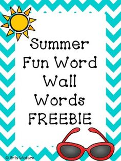 Freebie! Word wall words for your students as they write about their summer vacation! Also great for end-of-year writing prompts :)