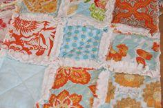 Baby Girl Gift Minky Lovey Rag Quilt Security Blanket