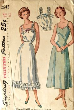 Vintage Simplicity 2643 Sewing Pattern Princess Slip Lace Ruffle Petticoat and Camisole Lingerie Printed Pattern Bust 32 by PatternPopUp on Etsy Lingerie Patterns, Vintage Dress Patterns, Vintage Dresses, Vintage Outfits, Vintage Fashion, Vintage Style, Retro Lingerie, Simplicity Patterns, Lace Ruffle