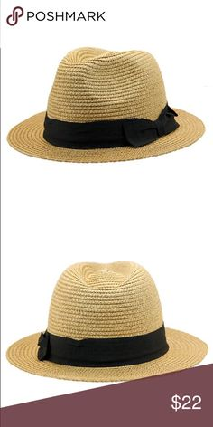 New Unisex braided panama Tea color Braided paper straw panama with bow band. One size fits most ( head circumference is about 57cm). 2 inch short brim. The Hatter Company Accessories Hats