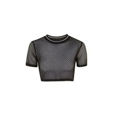TopShop Airtex Crop Tee ($22) ❤ liked on Polyvore featuring tops, t-shirts, crop top, black, sport top, topshop, sports tees, polyester t shirts and sports crop top