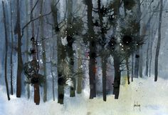 Original watercolour tree painting - Charred forest. Paul Bailey