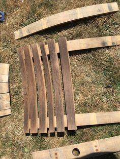 Wine Barrel Adirondack Chair: 10 Steps (with Pictures) - Pinpon Whiskey Barrel Furniture, Wine Barrel Furniture, Rustic Furniture, Furniture Plans, Lawn Furniture, Handmade Furniture, Furniture Design, Backyard Furniture, Distressed Furniture