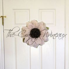 Just sold! Get your house ready for #Spring with a #Burlap #Sunflower #Wreath today! By #TheCraftyWineaux. Also on http://thecraftywineaux.com!