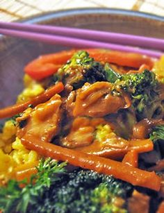Peanut Chicken Stir-Fry Recipe...except substitute the natural peanut butter with natural almond butter. Can use quinoa instead of rice. Yum!