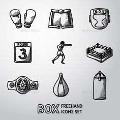 Set Of Boxing Hand Drawn Icons - Gloves, Shorts