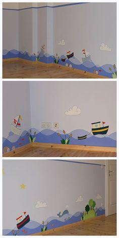 Children's room wall design in Berlin and Brandenburg - Kinderzimmer - babyzimmer Kids Room Design, Nursery Design, Wall Design, Design Design, Nursery Wall Decor, Nursery Room, Kids Bedroom, Room Decor, Design Maternelle