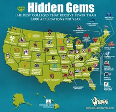 Looking for a college check out these hidden gems.   the highest ranking (based on factors like selectivity, graduation rate, average debt upon graduation and more) in each state which received fewer than 5,000 applications per year, but had an enrollment of more than 1,000 students. Worth checking out. Thanks Road2College for sharing.