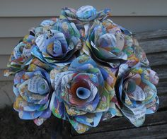 Rose Paper Flowers. Unique Gift, Home Decor, Wedding Bridal Bouquet, Birthday Gift. Upcycled Children's Book. by JustCyndy on Etsy