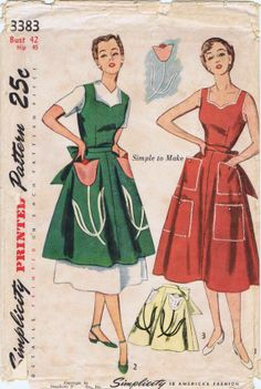 Simplicity 3383 ©1950 Apron and Pinafore Dress with tulip pockets