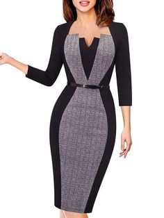 Shop Midi Dresses Bodycon Half Sleeve Elegant Paneled Square Neck Midi Dress o Elegant Dresses, Cute Dresses, Casual Dresses, Short Dresses, Dresses For Work, Classy Work Outfits, Classy Dress, Dress Outfits, Fashion Outfits