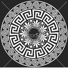 Illustration of set Traditional vintage white round Greek ornament (Meander) and floral pattern on a black background vector art, clipart and stock vectors. Art And Illustration, Greek Pattern, Greek Design, Marquesan Tattoos, Greek Art, Mandala Art, Textured Background, Black Backgrounds, Zentangle