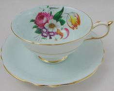 Paragon Blue Tea Cup and Saucer Set with Floral Bouquet, Vintage Bone China, Double Royal Warrant Cup And Saucer Set, Tea Cup Saucer, Tea Cups, China Teapot, Chocolate Cups, Floral Bouquets, Bone China, Tea Party, Queen Mary