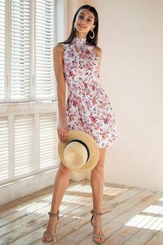 f44da18d0f Summer Mini Dresses - High Collar Sleeveless Dress
