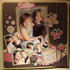 Adorable scrapbook layout using paper and embellishments from Cosmo Cricket's new line called Girl Friday...