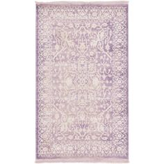Unique Loom Purple Arcadia Rug (3' 2 x 5' 2) (3' 2 x 5' 2 Rectangle), Ivory, Size 3' x 5'