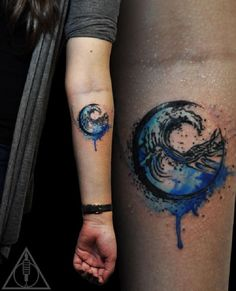 Amazing looking wave tattoo on the arm. The strong and bold colors of the tattoo…